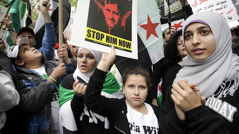 Amerikansyyrialaiset protestoivat Syyrian presidentti Bashar al-Assadia vastaan Yhdistyneiden kansakuntien päärakennuksen edessä New Yorkissa vuonna 2012.