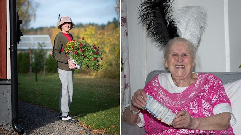 Två äldre kvinnor, en med blommor en med ett pappersdragspel