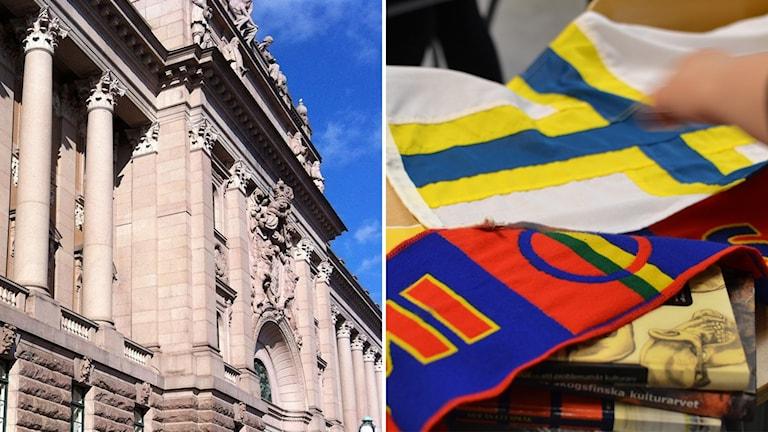 Riksdagshuset och sverigefinsk flagga