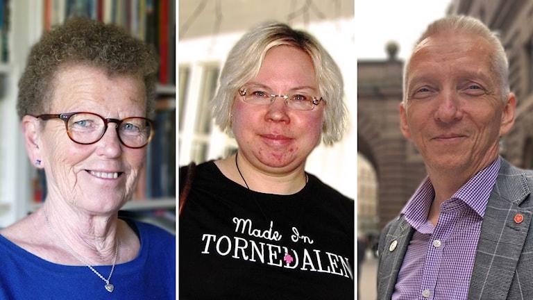 En kollage av tre bilder på Rut Smeds (KD), Linda Ylivainio (C) och Birger Lahti (V)