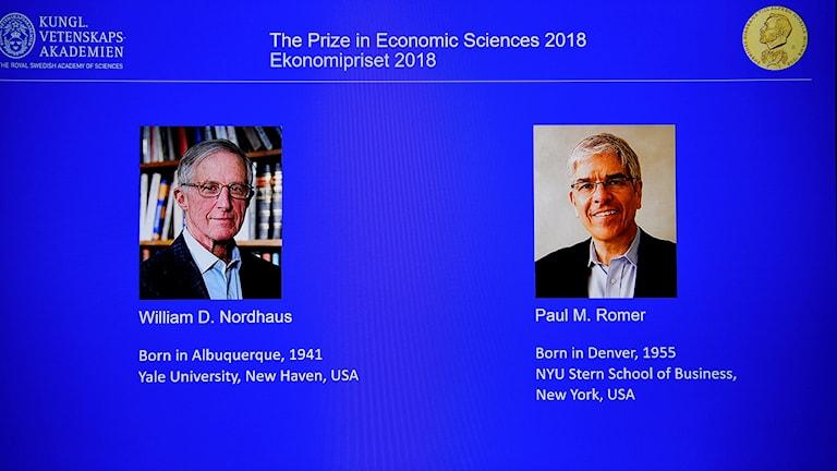Vuoden taloustieteen Nobel-palkinnon saajat.