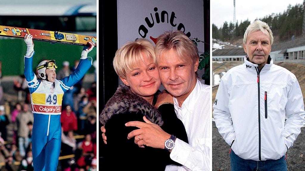 Kuvakooste: Matti Nykänen juhlii mäkihyppyvoittoa, Nykänen yhdessä silloisen vaimonsa Sari Paanalan kanssa, Matti Nykänen ikääntyneenä mäkihyppymontussa.