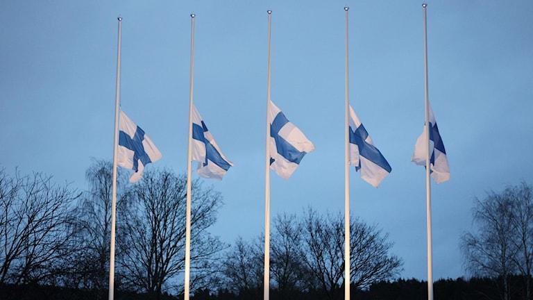 Viisi suomenlippua puolitangossa Imatralla. Kuva Lauri Heino.