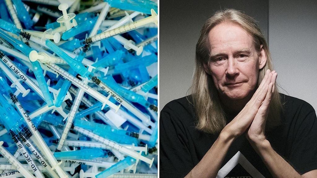 2 kuvaa: rokoteruiskuja ja  filosofi Matti Häyry