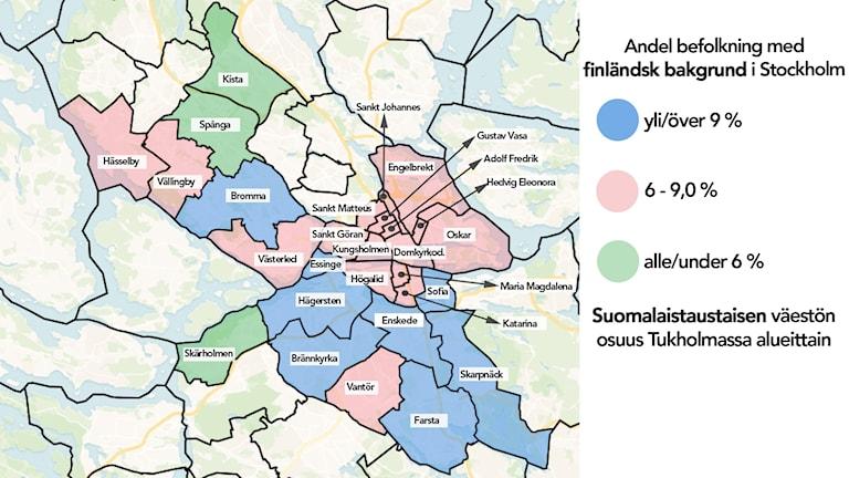 Karta: Andel befolkning med finländsk bakgrund i Stockholm