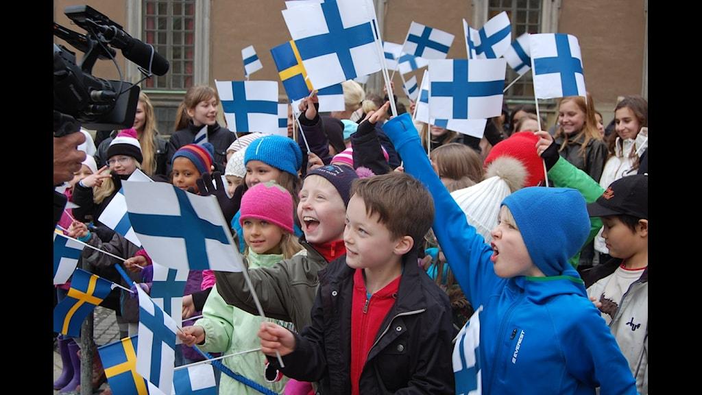 Tukholman Ruotsinsuomalaisen koulun oppilaita. Foto: Annika Lantto/Sveriges Radio
