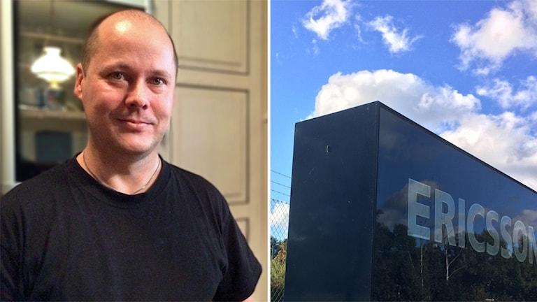 En man med en svart tröja och blå Ericsson skylt, montage