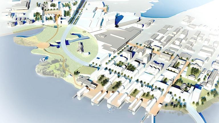 Havainnekuva voittoisasta ehdotuksesta Two Cities, One Heart Haaparanta-Tornion raja-alueen kehittämiseksi.