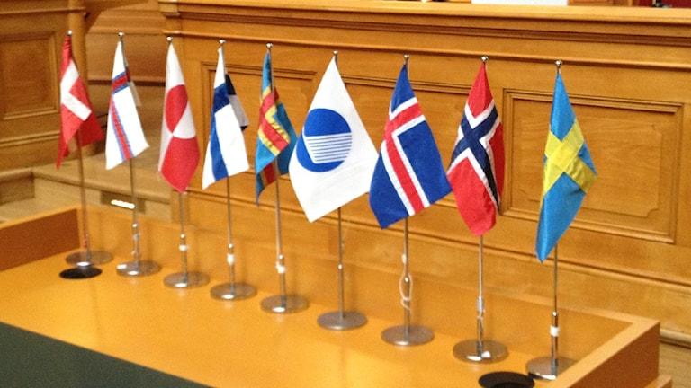 Flaggor norden pohjoismaat lippu Foto: Mikko Mäkitalo Sveriges Radio Sisraduio