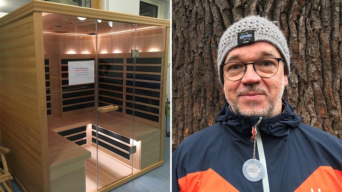 Kuvassa sauna Luulajan saunalaboratoriosta sekä kuva lääkäri Hans Hägglundista.