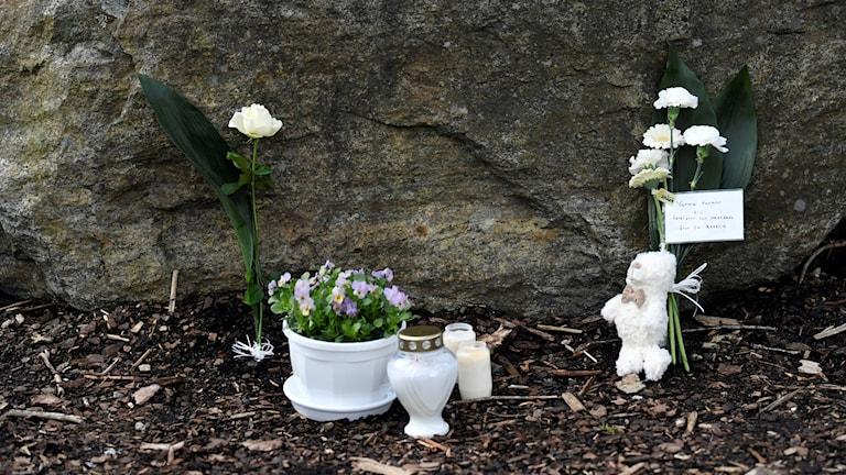 Blommor och ljus vid en sten