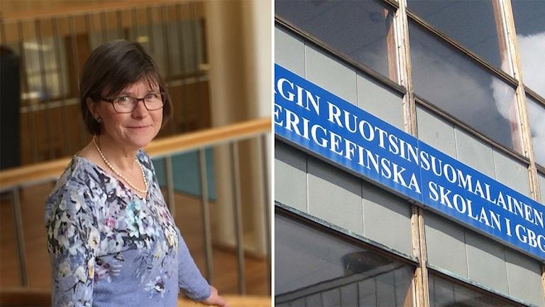 En kvinna Karin Pleijel och en fasad på en skola