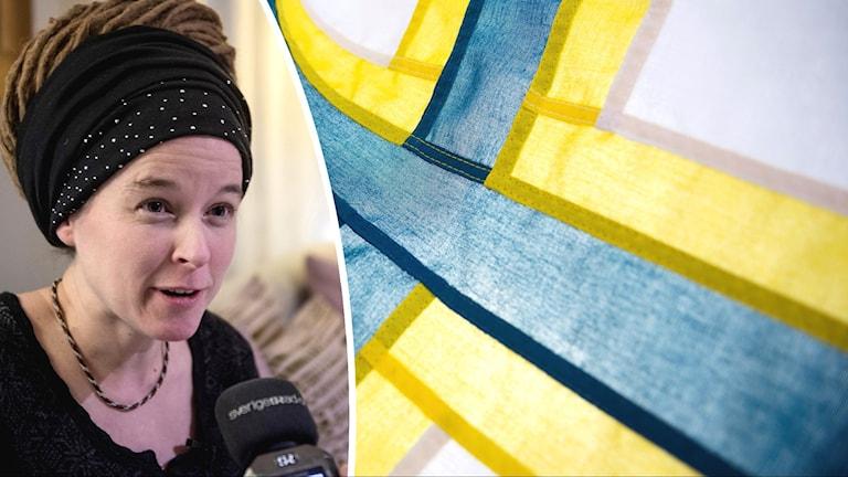 Kulttuuriministeri Amanda Lind ja ruotsinsuomalaisten lippu.