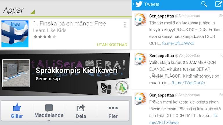 Suomea voi opiskella sovellusten avulla tai Facebookin ja Twitterin kautta. Kuvat ruutukaappauksia Google Play -kaupasta, Facebookista ja Twitteristä.
