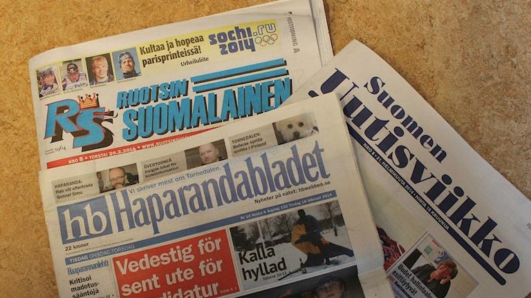 Ruotsinsuomalaisia lehtiä vuonna 2014. Kuva/Foto: Jorma Ikäheimo/Sveriges Radio Sisuradio.