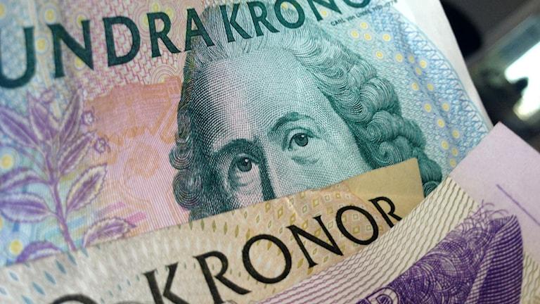 Sadan- ja viidenkymmenen kruunun seteleitä. Foto. Virpi Inkeri/SR