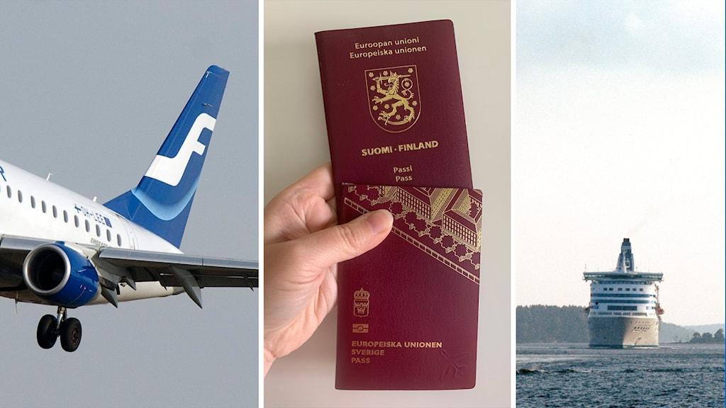 Kuvassa lentokone, Ruotsin ja Suomen Passi sekä Suomenlaiva.