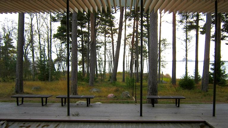 Saunan ulkotiloista avautuu syksyinen maisema, kuva: Tytti Jussila / SR Sisuradio