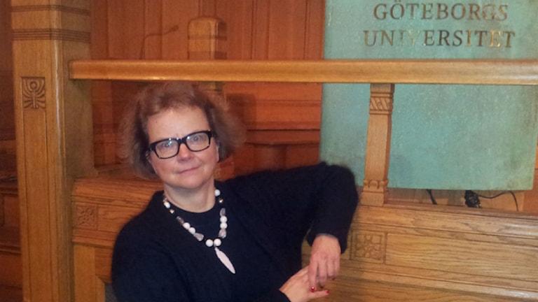 Euroopan historian professori Laura Kolbe Göteborgissa. Kuva: Ulla Rajakisto