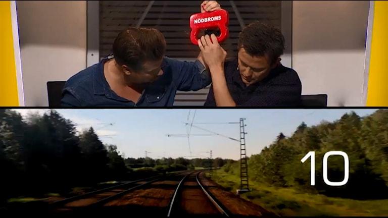 Filip Hammar ja Fredrik Wikingsson På Spåret-tietokilpailussa.