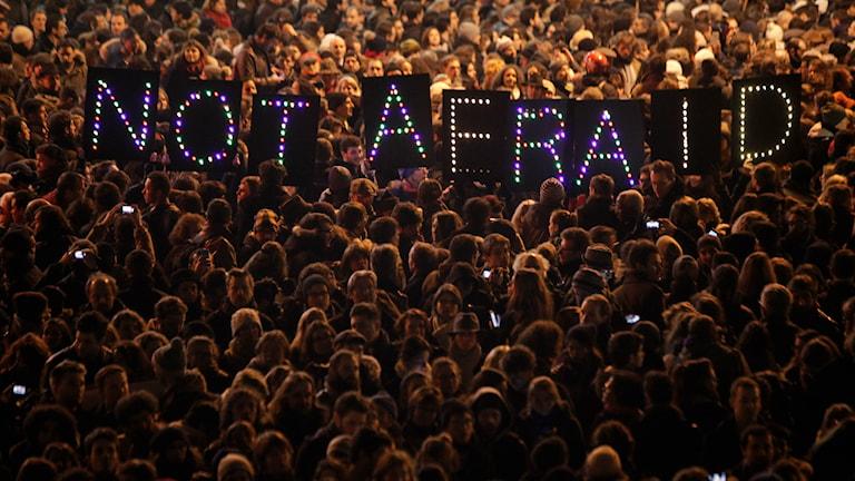 Ihmiset kokoontuivat Pariisissa osoittaakseen solidaarisuutta Charlie Hebdon-satiirilehden toimitukseen tehdyn iskun jälkeen. AP Photo/Thibault Camus.
