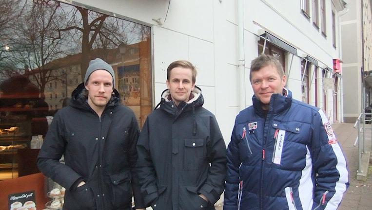 Aku Pekkarinen, Aatu Hämäläinen, Arto Sirviö, Tranås AIF. Kuva Pekka Ranta, Sveriges Radio.