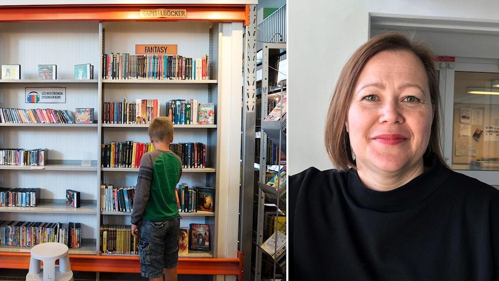 Kuvassa lapsi joka etsii kirjaa kirjaston hyllyltä ja hymyilevä nainen mustassa puserossa.