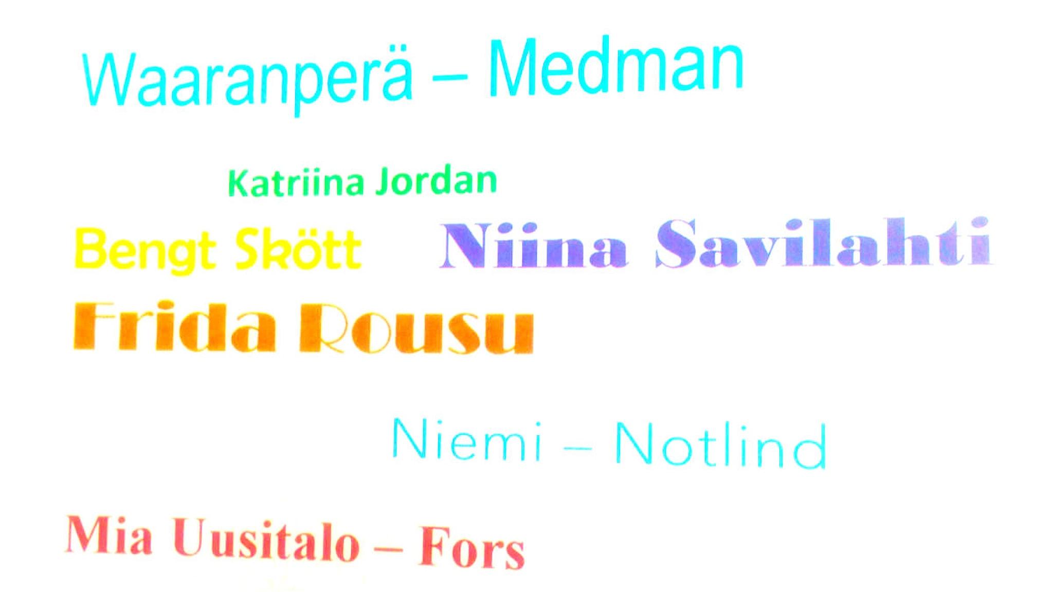 Valkoisella taustalla eri nimiä eri väreillä.