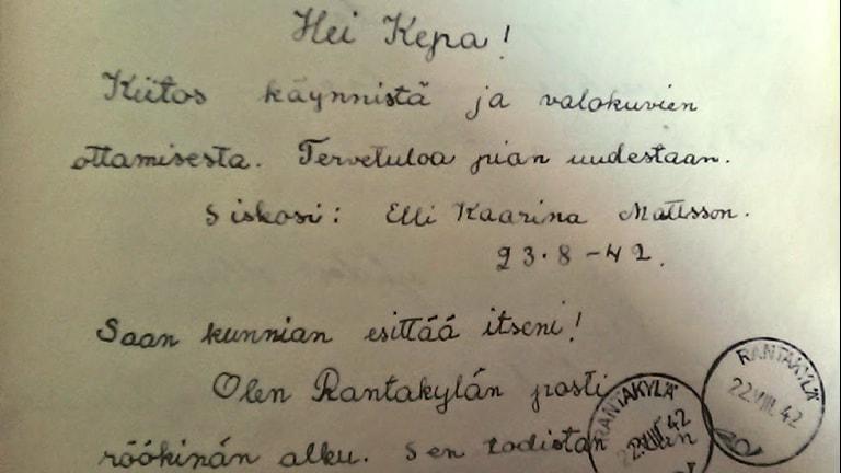 Käsinkirjoitettu kirje Kertulle