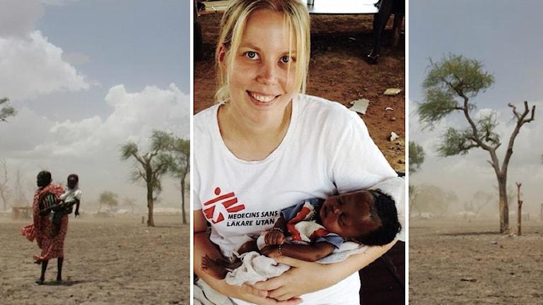 Kollaasi: Sairaanhoitaja Merja Hietanen pieni sudanilaisvauva sylissään ja etelä-sudanilaista maisemaa