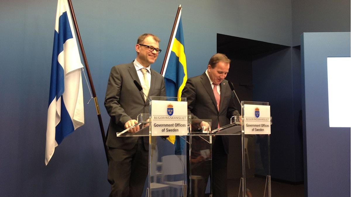 Statsministrarna Juha Sipilä och Stefan Löfven