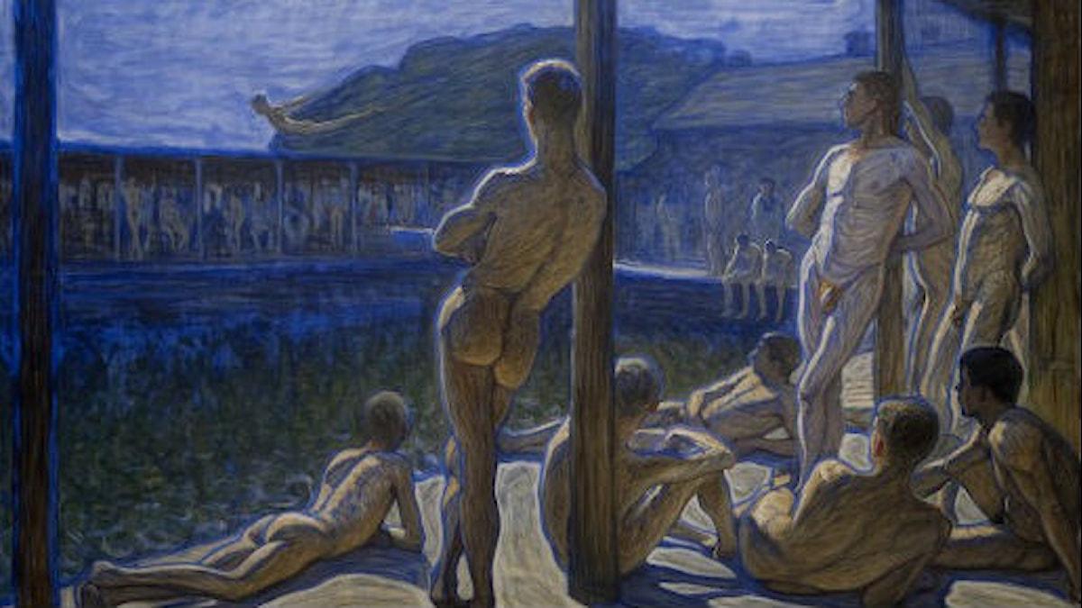 Eugène Janssonin maalaus Flottans badhus.