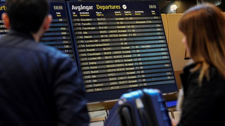 Arlandan lentokentän infotaulu.
