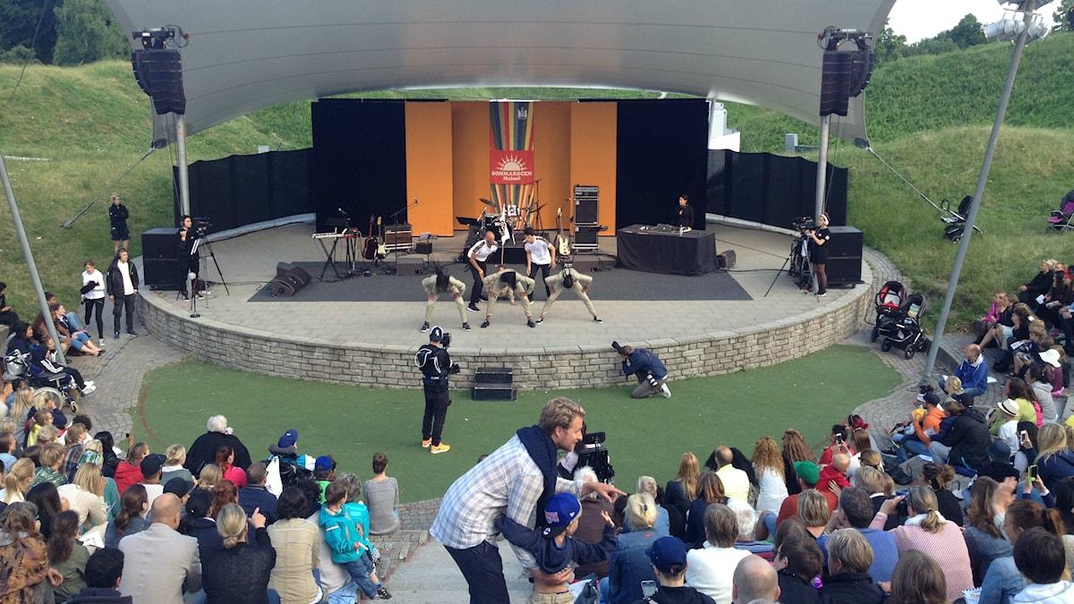 Pildamsparkenin amfiteatteri toimii konserttisalina. Kuva: Sanna-Leena Rinne/SR Sisuradio