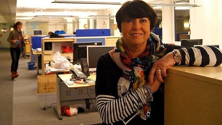 Svea Laiti inför sitt sista Finnmix i P4 Norrbotten. Foto: Sveriges Radio.