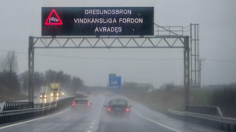Kuvassa näkyy autoja jotka ajavat vesisateessa ja kyltti, joka kertoo että sillalla on tuulista.