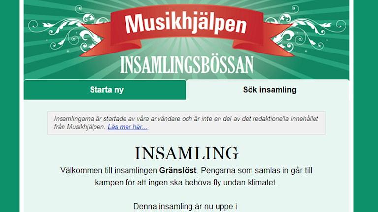 Gränslösts Musikhjälpenbössa, skärmdump. Foto: SR