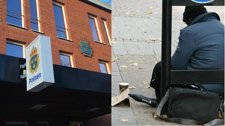 Kuvan vasemmalla puolella näkyy Boråsin poliisitalo. Robert Österlind/Sveriges Radio. Kuvan oikealla puolella näkyy maassa istuva kerjäävä mies, jolla on tumman sininen toppatakki päällään. Foto: Ida Wendle/Sveriges Radio.
