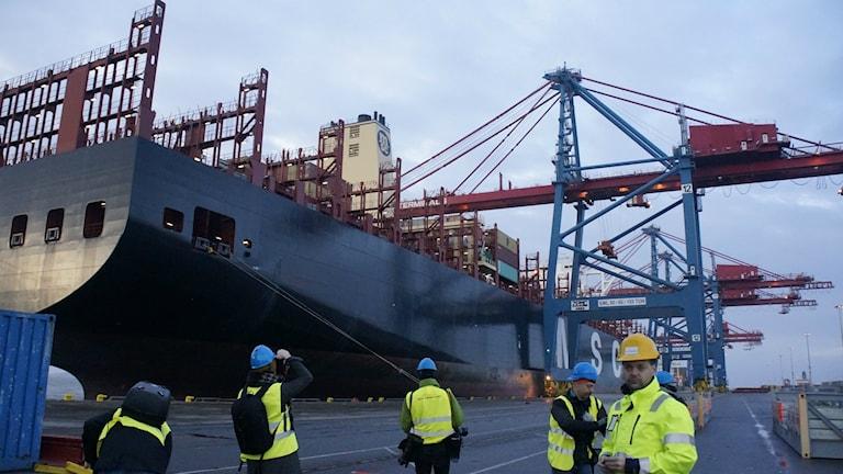 En stor lastfartyg och kranar. Foto: Lotta Hoppu / Sveriges Radio Sisuradio