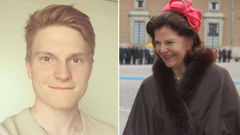 Kaksi kuvaa: Elias Kallio ja kuningatar Silvia Foto: Privat & Annika Lantto / Sveriges Radio