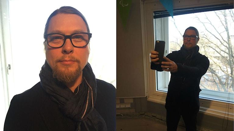 Kai Piipon rintakuva ja Kai ottamassa selfietä ikkunan edessä. Kuva: Taneli Männikkö / Sveriges Radio Sisuradio