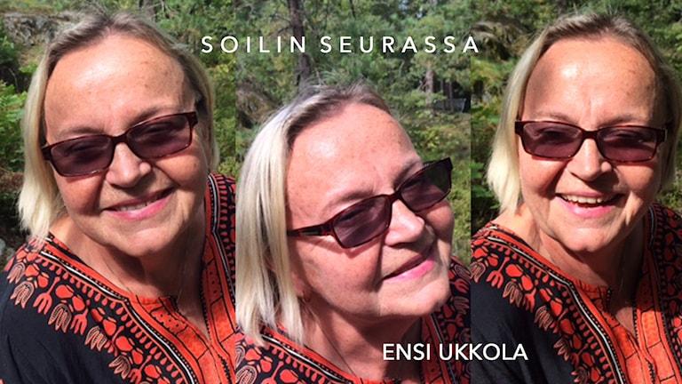 Kolmen kuvan kollaasi: Ensi Ukkola auringonpaisteessa. Foto: Soili Huokuna / Sveriges Radio Sisuradio