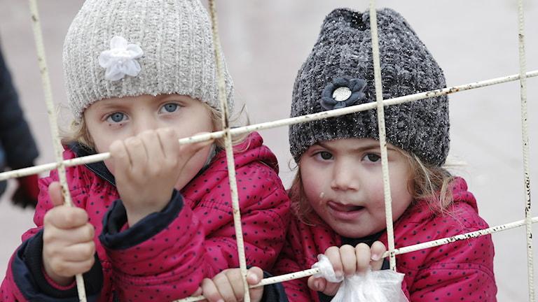 Kuvassa syyrialaisia lapsia Syyrian ja Turkin rajalla. Foto/Kuva: Lefteris Pitarakis/AP/TT
