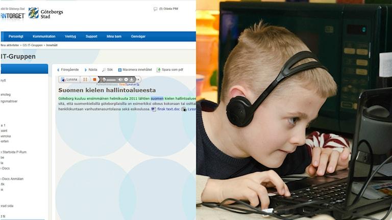Ett datorprogram och en barn som har hörlurar på sig och tittar på en dator