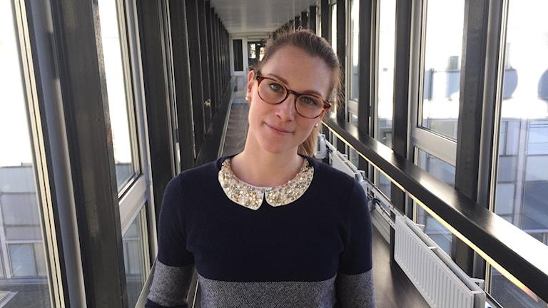 Jannica Niklasson Tukholman radiotalon käytävällä.