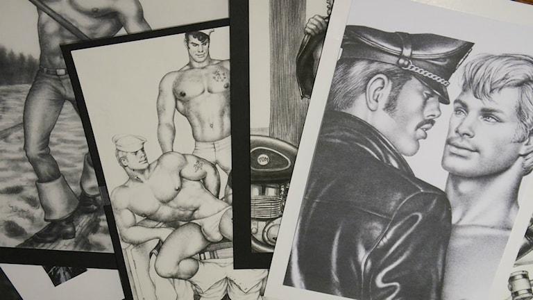 Tecknade svart vita bilder