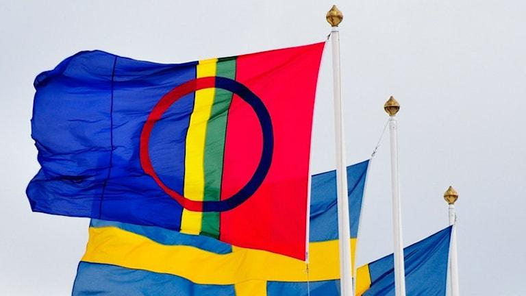 Sameflaggan och svenska flaggor