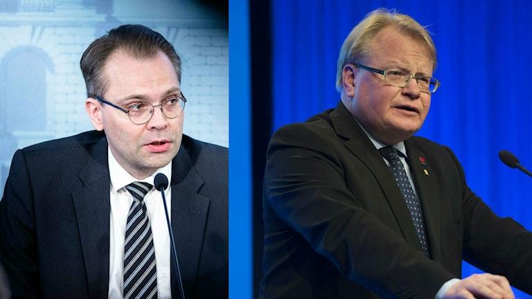 Suomen puolustusministeri Jussi Niinistö (ps) sekä Ruotsin puolustusministeri Peter Hultqvist (S).