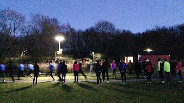 Tiistai-iltainen juoksukoulu Malmössä.
