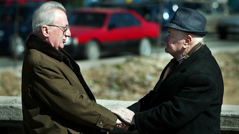 Kuvassa näkyy kaksi toisiaan kättelevää vanhempaa herrasmiestä.